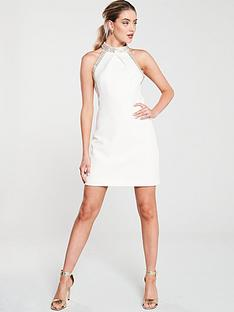 karen-millen-chain-detail-mini-dress-ivory