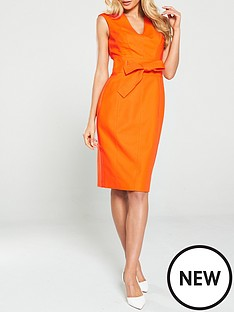 karen-millen-tie-waist-contour-dress-orange