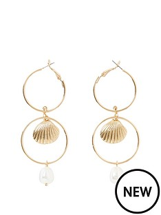 river-island-river-island-interlink-pearl-drop-earring-gold