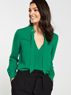 v-by-very-eyelet-tie-neck-blouse-forest-green