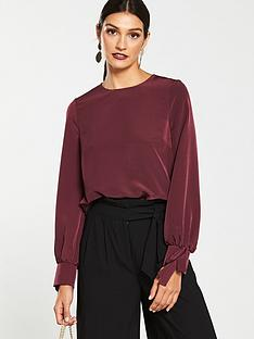 v-by-very-tie-cuff-long-sleeve-shell-top-plum