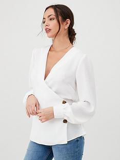 v-by-very-side-button-tie-back-blouse-ivory