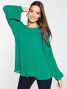 v-by-very-plisse-pleated-shell-top-green