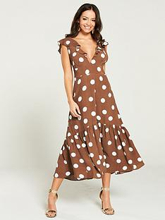 river-island-river-island-brown-polka-spot-midi-dress--brown