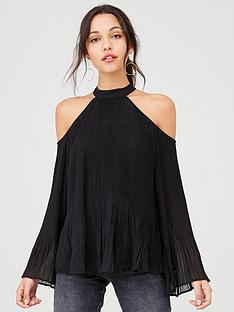 v-by-very-cold-shoulder-long-sleeve-pleated-blouse-black