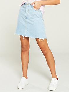 7d41f5992 River Island River Island Distressed Edged Denim Mini Skirt- Light Auth
