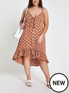 ri-plus-ri-plus-spot-frill-button-through-beach-dress--brown