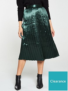 v-by-very-satin-pleated-midi-skirt-green