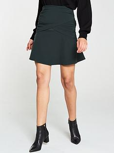 v-by-very-wrap-front-mini-skirt-green