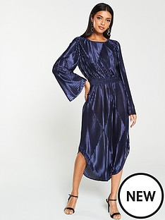 v-by-very-metallic-pleated-midi-dress-navy