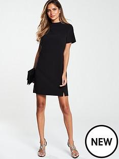 v-by-very-high-neck-simple-tunic-dress-black