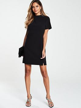 v-by-very-high-neck-simple-tunic-dress-black