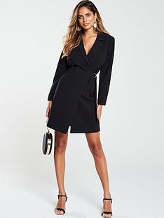 v-by-very-d-ring-side-tie-blazer-dress-black