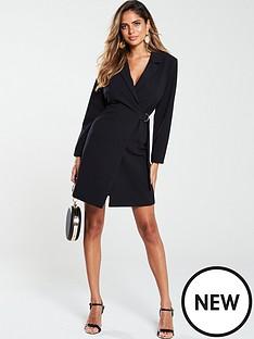 v-by-very-d-ring-side-tie-blazer-dress-black