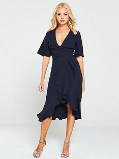 v-by-very-soft-wrap-ruffle-occasion-dress-navy
