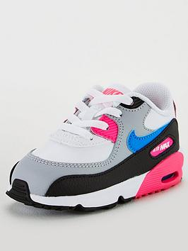 nike-air-max-90-leather-infant-trainers-whitebluepink