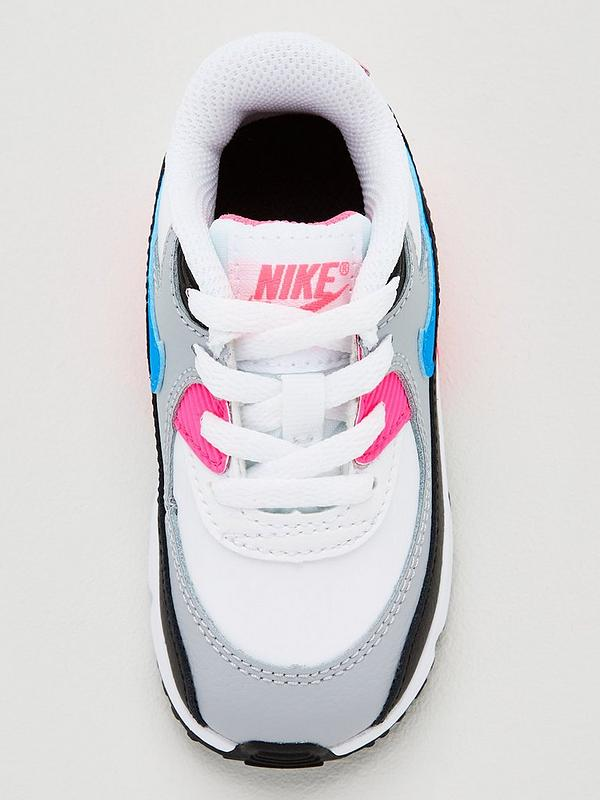 Air Max 90 Leather Infant Trainers WhiteBluePink