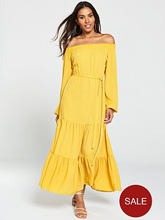 v-by-very-bardot-tiered-maxi-dress-mustard