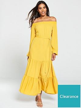 v-by-very-bardot-tiered-maxi-dress-mustard