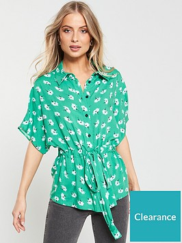 v-by-very-printed-drawstring-blouse-green