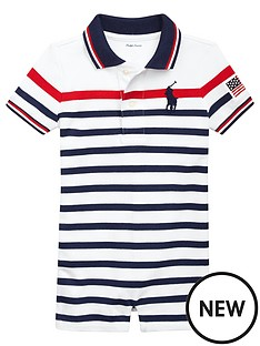 c72d72509 Ralph Lauren Baby Boys Striped Big Pony Shorty All In One - White