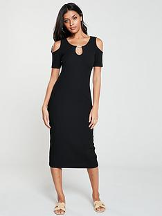 v-by-very-ribbed-cold-shoulder-trim-dress-black