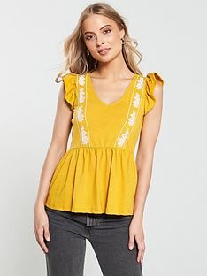v-by-very-embroidered-peplum-top-mustardnbsp
