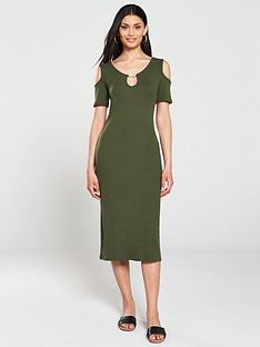 v-by-very-ribbed-cold-shoulder-trim-dress-khaki