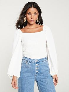 v-by-very-shirred-puff-sleeve-milkmaid-top-white