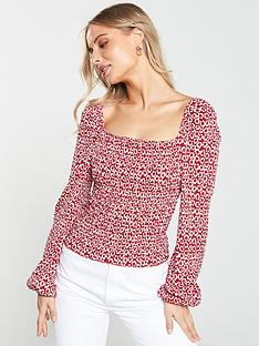 e99c470ca22 V by Very Shirred Puff Sleeve Milkmaid Top - Red Print
