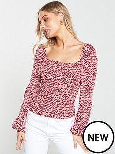 v-by-very-shirred-puff-sleeve-milkmaid-top-red-printnbsp