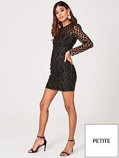little-mistress-petite-animal-lace-bodycon-dress-black