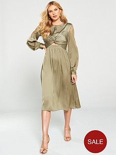 little-mistress-satin-and-lace-trim-midi-dress-khaki