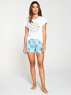 9543f858f4 V by Very Hawaii Destination Print Short Pyjama Set - White Blue