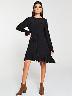 v-by-very-channel-waist-ruffle-hem-dress-black
