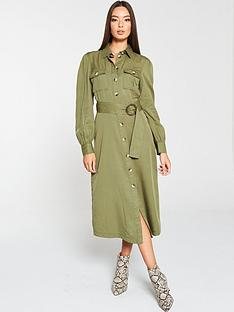 v-by-very-button-front-utility-shirt-dress-olive
