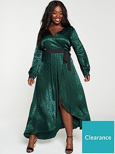 little-mistress-curve-polka-dot-asymmetric-maxi-wrap-dress-greennbsp