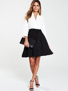 v-by-very-tie-waist-formal-dress-monochrome