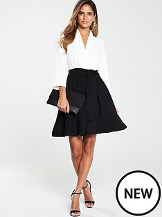 v-by-very-tie-waist-formal-dress-monochrome