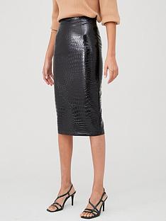 v-by-very-pu-shiny-mock-croc-pencil-skirt-black