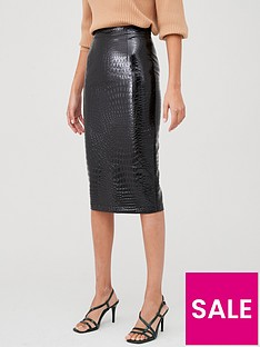 v-by-very-pu-shiny-mock-croc-pencil-skirt-black
