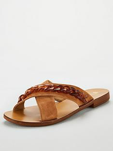 v-by-very-hare-leather-tort-chain-cross-strap-sliders-tan