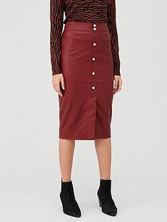 v-by-very-faux-leather-button-front-midi-skirt-brownnbsp