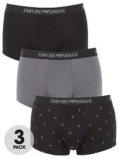 emporio-armani-bodywear-three-pack-printed-pure-cotton-trunks-blackgrey