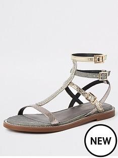 620daecfa270 River Island River Island Shimmer Gladiator Sandals - Silver
