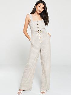 mango-stripe-belted-button-front-jumpsuit-beige