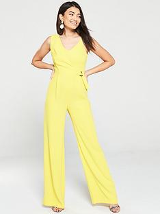 mango-wide-legnbspwrap-jumpsuit-yellow
