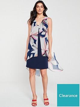 wallis-vivid-bloom-split-front-dress-ink