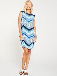 wallis-hotfix-chevron-shift-dress-blue