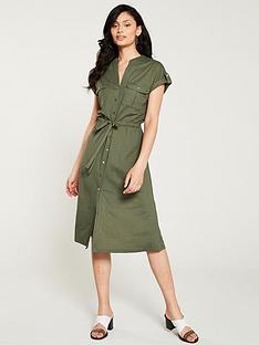 23020123252c Oasis Utility Linen Look Shirt Dress - Khaki